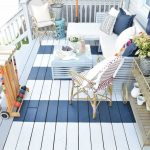 Blue White Stripes Painted Wooden Deck, Blue Fences, Blue Wooden Stairs, Blue Wooden Bench With White Cuhion, Pillows, Blue Coffee Table, Rattan Chairs