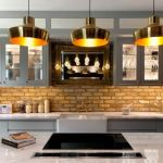 Brass Pendants, White Island, White Cabinet, Open Brick Backsplash