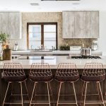Chic Kitchen, Wooden Floor, Brown Island, White Top, Copper Stools With Woven Back