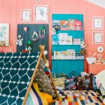 Children's Room, Colorful Rug, Green Tent, Salem Wall With Grey Area With Accessories, Green Area With Floating Shelves