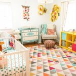 Children's Room, White Woden Crib, Yellow Shelves With Blue Pink Boxes, Yellow Floating Hexagon Shelves, White Pendant, White Blue Cabinet, White Chair, Ottoman