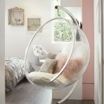 Clear Acrylic Round Hanging Chair With Metal Frame, Hanging Support