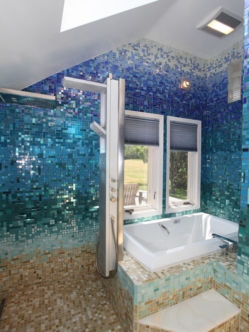 coastal bathroom, tiny mosaics on gradation of light brown, deep blue, tosca