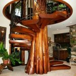 Dark Gloss Wooden Stairs With Large Branch In The Middle, Metal Rail, Round Hole On Top
