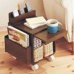 Dark Wooden Compacted End Table With Pocket, Shelves With Basket, Sliding Table