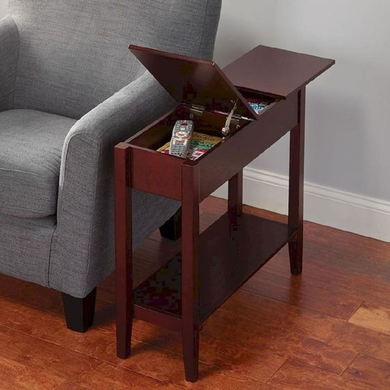 dark wooden rectangular end table with hidden drawers, shelf, grey sofa, wooden floor