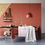 Dining Room, Black Dining Set With White Chair, Copper Pendant, Pink Terracotta Wall, Shelves