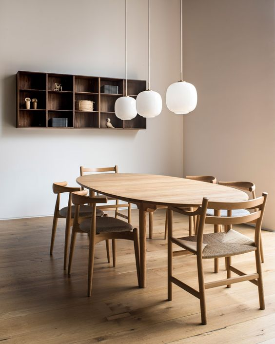 dining room, wooden floor, white wall, wooden floating shelves, wooden dining set with rattan seating chairs
