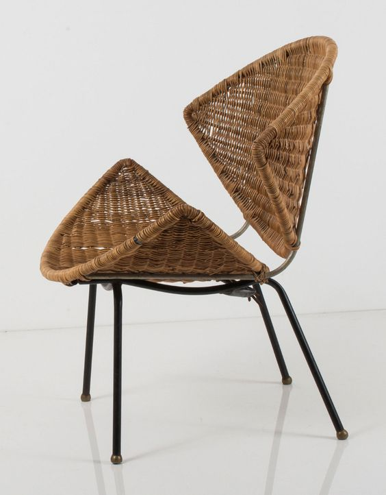 double half cone rattan woven low chair with black legs