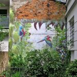 Exterior Wall With Plants In Pot, And Painted Forest With Plants, Trees, Birds