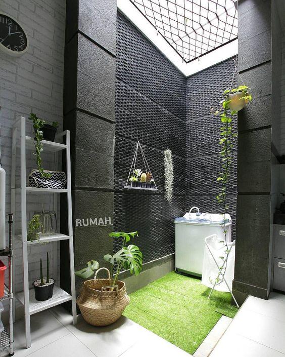 garden, grass, washing machine, black wall, vines, white open brick wall, white floor tiles, white rack