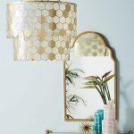 Golden Honeycomb Pattern On Pendant, Golden Framed Mirror, Golden Framed Console Table