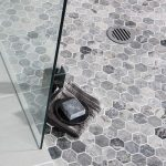 Grey Honeycomb Floor Tiles On The Bathroom