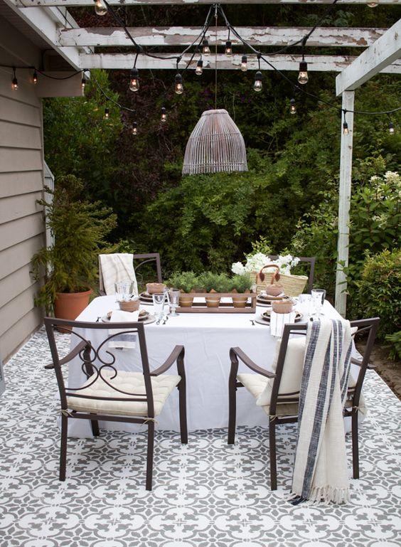 grey white stenciled patio