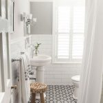 Guest Bathroom, White Subway Wall Tiles, Patterned Floor Tiles, White Toilet, White Sink, White Tub, White Curtain, Wooden Windows