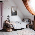 Kids Bedroom Under Sloping Ceiling, White Wall, Wooden Floor, Rattan Bed, Pink Cupboard, Brown Curtain