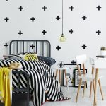 Kids Bedroom, White Floor, White Wall, Black Iron Bed, White Brown Midcentury Modern Table Chair Stool, Pendant