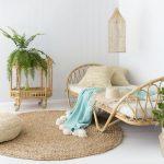 Kids Bedroom, White Floor, White Wooden Wall, Rattan Bed With White Bedding, Pillows, Round Rattan Rug, Rattan Shelves, Rattan Pendant