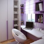 Kids Study Space With Floating White Table, Light Purple Wall, Floating Purple Box Of Shelves, Purple Floating Shelvesm White Modern Office Chair