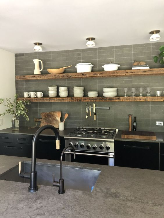 kitchen, black cabinet, grey marble counter top, grey wall tiles, white ceiling lamp, black faucet