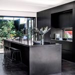 Kitchen, Black Floor, Black Wooden Cabinet, Black Kitchen Top, Glass Window On Stove Wall, Black Island, Black Stool