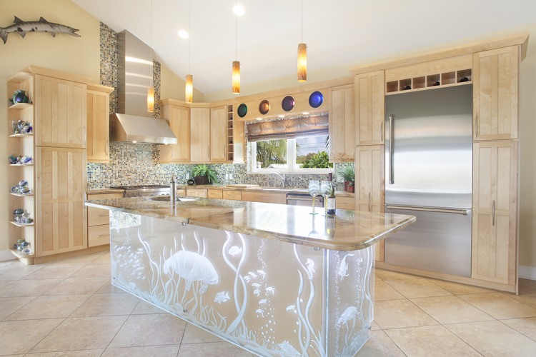kitchen, brown floor tiles, wooden cabinet, grey backsplash, white sea picture island with marble top