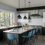 Kitchen, Grey Wooden Floor, Black Wooden Island And Cabinet With White Top, White Tiles Backsplash, Black Pendants, White Cabinet, Large Glass Windows
