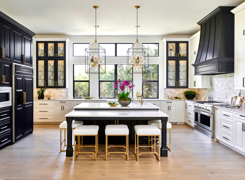 kitchen island dimensions with seating windows stools glass shelves white and dark cabinets backsplash rangehood stovetop sink