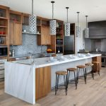 Kitchen Island Dimensions With Seating Wooden Floor Stools White Marble Countertops Mosaic Backsplash Pendant Lamps Wooden Cabinets Sink