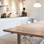 Kitchen, Light Brown Open Brick Wall, White Modern Cabinet, Wooden Table, Modern Chair, Pendant, Small Pendants