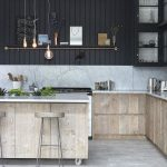 Kitchen, White Wooden Floor, Brown Wooden Cabinet, White Marble Top, Black Wood Planks Wall, White Marble Backsplash, Wooden Stool With Metal Legs