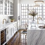 Kitchen With Wooden Floor, White Cabinet, White Marble Kitchen Top, White Marble Island, Wire Stool, White Pendants, White Ceiling, Large Windos