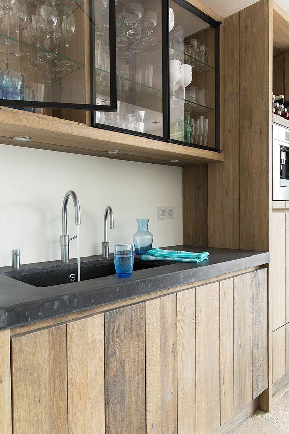 kitchen, wooden boards on cabinet, cupboard, upper bottom with glass door