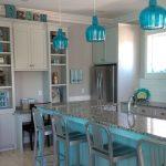 Kitchen, Wooden Floor, Blue Wooden Island With Grey Marble, White Cabinet, White Subways Tiles