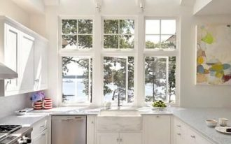 kitchen, wooden floor, white cabinet, white ceiling, white wall, glass windows, glass ceiling, white marble