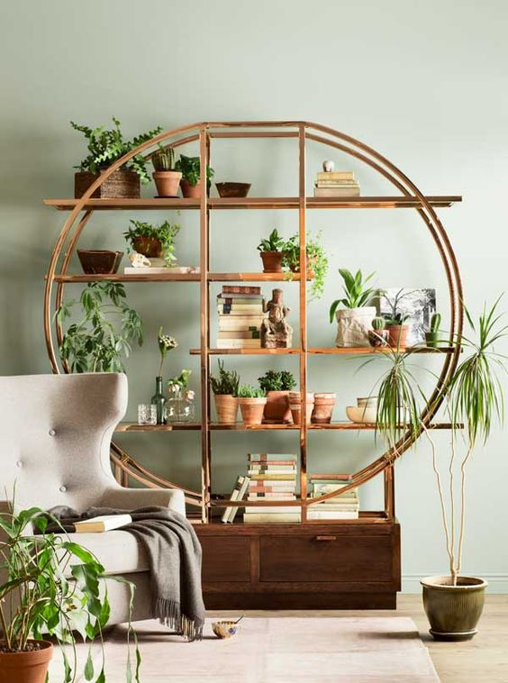 large round rattan shelves with empty patterns, wooden drawers below