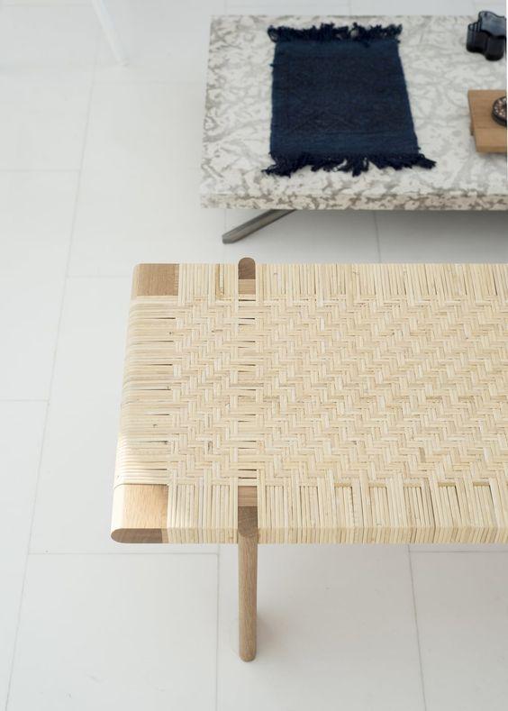 light woven rattan rectangular coffee table