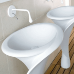 Lily Shaped White Round Sink