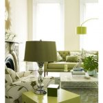 Living Room, Green White Rug, Green White Chair, Gren Sofa, Green Side Table, Green Table Lamp, Green Floor Lamp, Off White Wall