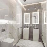 Living Room, Grey Marble Floor And Accent Wall, White Marble Wall, White Ceiling, White Vanity, White Toilet, White Rug Double Vanities