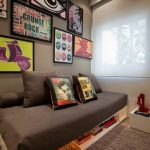 Living Room, Grey Rug Floor, Grey Wall, Wall Decorations, White Wooden Shelves Sofa Bed Platform, Grey Cushion