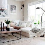 Living Room, Wooden Floor, White Wooden Walls, Rug, White Corner Sofa, Wooden Coffee Table, White Rattan, Pillows