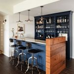 Modern Bar, Wooden Floor, Blue Bar With White Top, Wooden Accent, White Ceiling, Black Shelves, Pendants, Black Stools