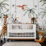 Nursery, Dark Wooden Floor, Rug, White Wooden Crib, Stuffed Animals, Forest Wallpaper