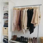 Open Closet With Beige Rug, Rails With Shoe Shelves, White Shelves