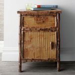 Rattan Bamboo Cabinet, Wooden Floor, White Wall