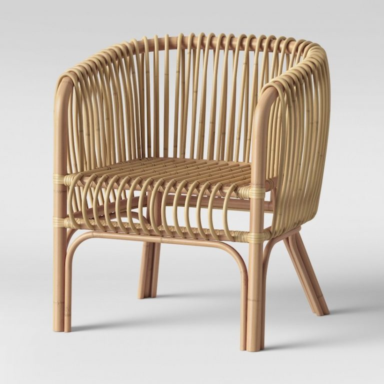 rattan chair in vertical pattern on backs, stripes pattern on seating