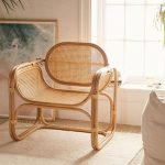 Rattan Chair With Pattern On Back, Curvy On The Seating, Square Legs