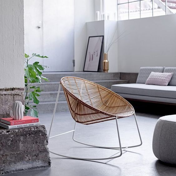 rattan woven rocking chair with metal legs