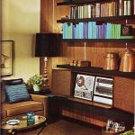 Retro Living Room, Brown Wooden Floor, Wooden Entertainment Cabine, Brown Sofa, Coffee Table